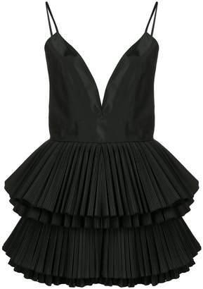 Alessandra Rich plunge pleated ruffle dress