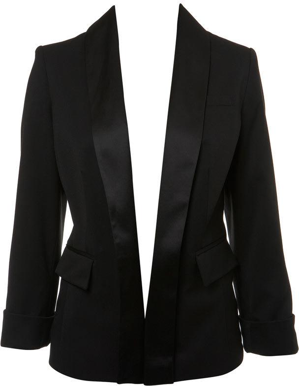 Black Longline Tuxedo Jacket