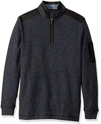 Bugatchi Men's Cotton Half Zip Mock Neck Knit Shirt