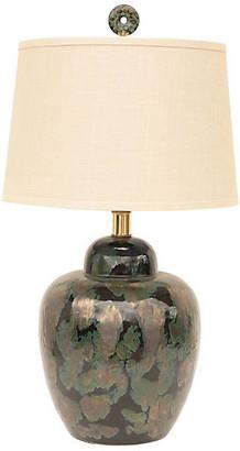 One Kings Lane Vintage Black & Verdigris Ceramic Table Lamp - Pythagoras Place