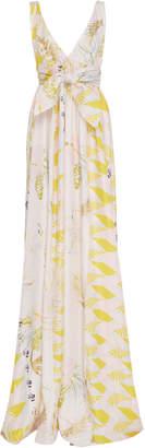 Cynthia Rowley Aurora Printed Silk Empire Waist Maxi Dress