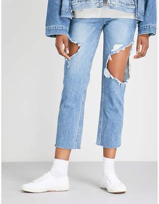 Sjyp Side cutout high-rise boyfriend-fit jeans
