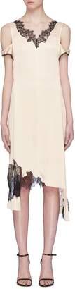 Helmut Lang Asymmetric lace panel cold shoulder slip dress