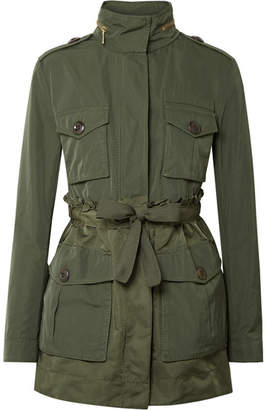 Moncler Hooded Ruffled Gabardine Jacket - Green