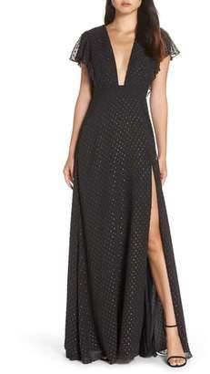 Jill Stuart Plunging V-Neck Tulle Gown