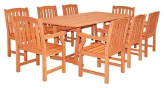 Vifah Rectangular Extension Table & Wood Arm Chair 9pc Outdoor Dining Set - Brown