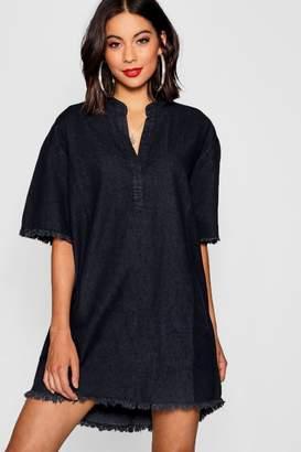 boohoo Pocket Front Denim Shirt Dress