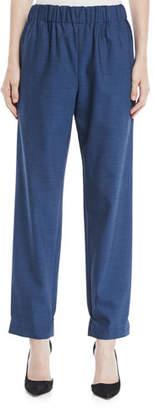 Tibi Tropical Wool Wide-Leg Pull-On Pants