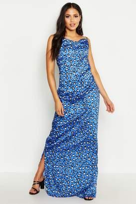 boohoo Tall Strappy Cowl Leopard Print Beach Maxi Dress