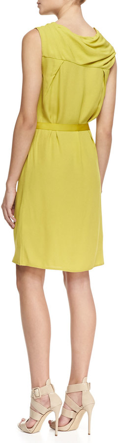 Halston Sleeveless Cowl-Neck Crepe Dress, Chartreuse