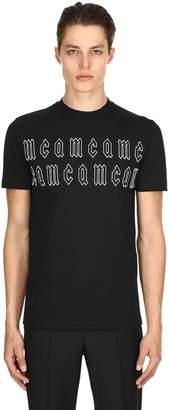McQ Gothic Logo Print Cotton Jersey T Shirt