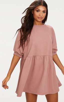 PrettyLittleThing Dark Mauve Smock Sweater Dress