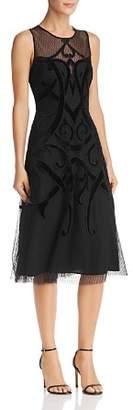 BCBGMAXAZRIA Velvet Appliquéd Dress