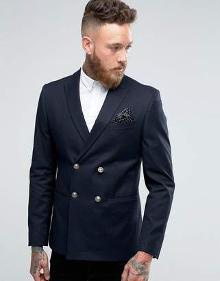 Asos DESIGN Skinny Double Breasted Blazer In Navy with Gold Buttons