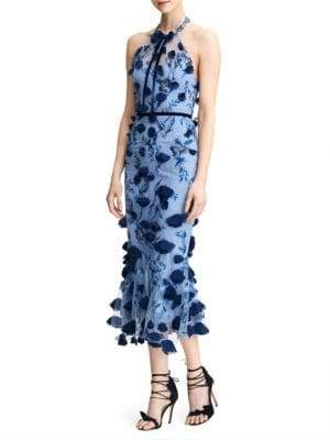 Marchesa Floral Applique Halter Cocktail Dress