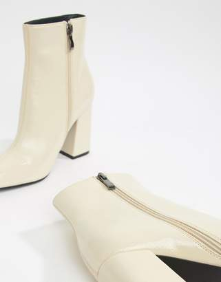 Public Desire Empire off white patent block heeled ankle boots