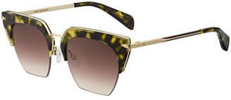 Rag & Bone Acetate & Metal Cat-Eye Mirrored Sunglasses