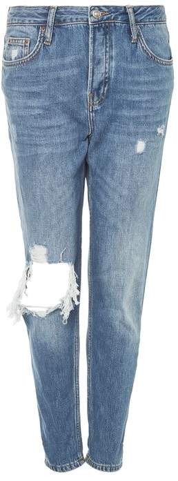 TopshopTopshop Moto busted knee ripped blue hayden jeans