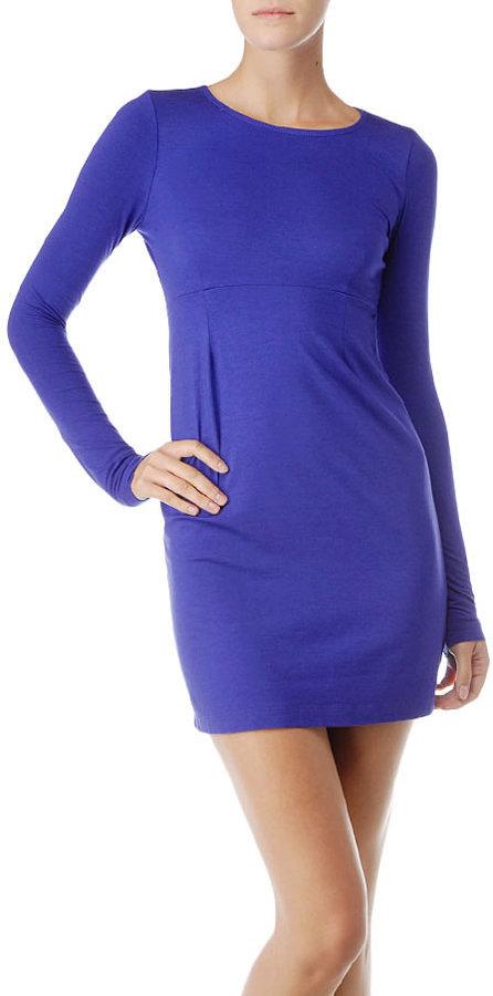 Jersey Long Sleeve Dress W/ Open Back