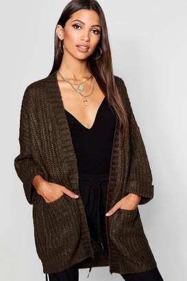 boohoo Oversized Cardigan With 3/4 Roll Back Sleeves