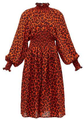 MSGM Leopard Print Shirred Midi Dress - Womens - Orange