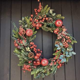 The Christmas Home Frosted Red Berry And Fruit Christmas Door Wreath