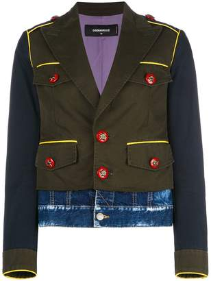 DSQUARED2 military jacket with denim hem