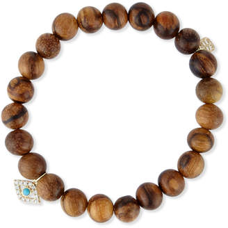 Sydney Evan Wooden Bead Bracelet w/ 14K Gold Diamond Evil Eye Charm