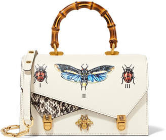 Gucci Ottilia Small Embellished Elaphe-paneled Printed Leather Tote - Off-white