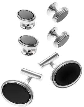 Black & Brown Black Brown Oval Cuff Links and Matching Studs