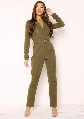 4638844d105 at Missy Empire · Missy Empire Missyempire Dani Khaki Utility Jumpsuit