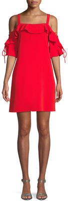Laundry by Shelli Segal Cold-Shoulder Lace-Up Sleeve Crepe Dress