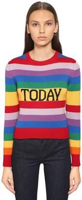 Alberta Ferretti Slim Today Rainbow Cotton Knit Sweater