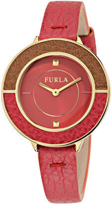 Furla 34mm Club Leather Watch, Red