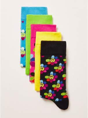 Topman Mens Multi Flower Power Socks 5 Pack