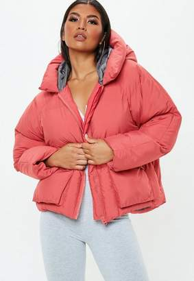 Missguided Pink Oversized Hooded Ultimate Puffer Jacket