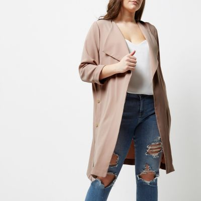 River Island River Island Womens Plus light pink popper duster coat