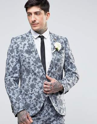 Noose & Monkey Super Skinny Wedding Suit Jacket In Floral