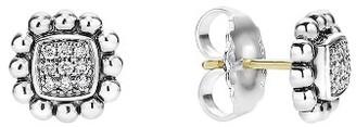 Women's Lagos Caviar Spark Diamond Square Stud Earrings $695 thestylecure.com
