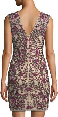Aidan Mattox Sequin Embellished V-Neck Sheath Dress