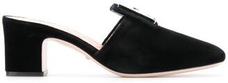 Gucci iridescent logo buckle mules