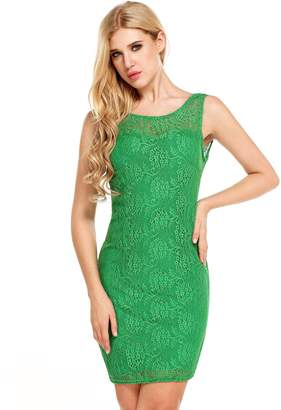 Meaneor Women's Lace Floral Elegant Slim Fitted Dress