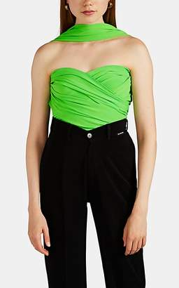 Balenciaga Women's Ruched Wrap Top - Green