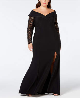 Xscape Evenings Plus Size Lace-Sleeve Off-The-Shoulder Gown