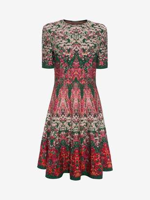 Alexander McQueen Flowerbed Jacquard Knit Mini Dress