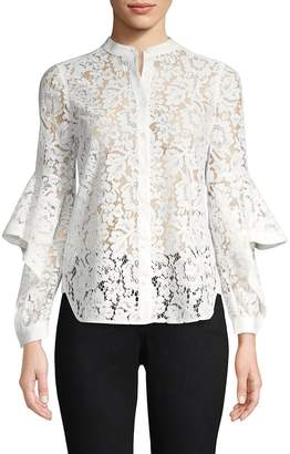 BCBGMAXAZRIA Women's Ruffle-Sleeve Lace Top