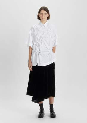 Simone Rocha Flower Smocked Open Back Shirt White
