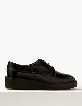 Marks and Spencer Wide Fit Leather Flatform Brogue Shoes