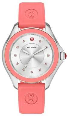 Michele Cape Stainless Steel, Pink Topaz & Silicone-Strap Watch