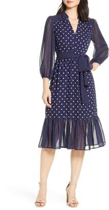 Eliza J Long Sleeve Chiffon Midi Dress